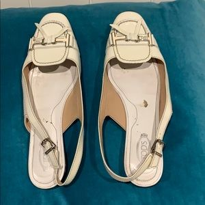 Tod's White Patent Leather Shoes